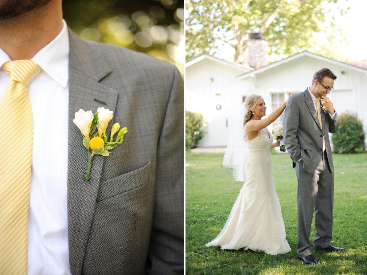 Wedding decorations yellow and gray  love this  Wedding Ideas  Pinterest  Gray groomsmen Yellow gray