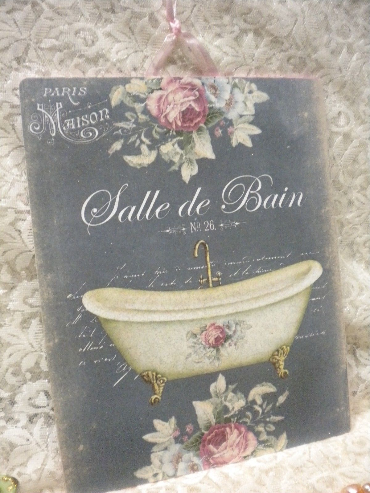 Shabby Chic Vintage French Bathroom Sign Salle De Bain Hanging