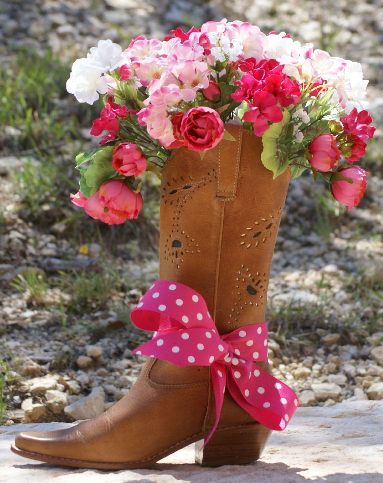 Country Western Home Decor Cowgirl Boot Silk By LoneStarPetals,