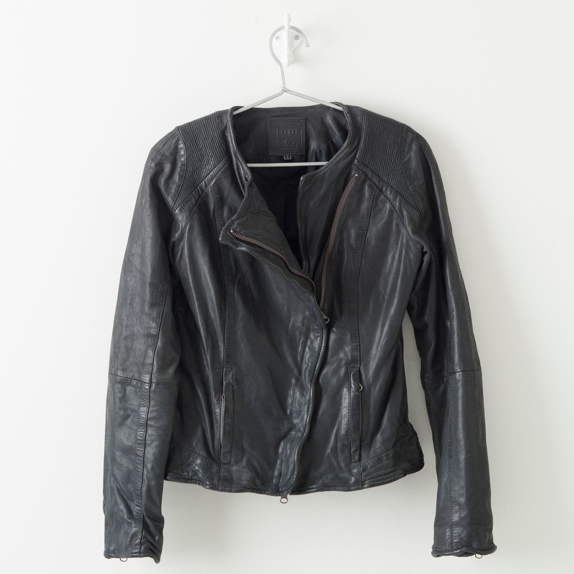leather jacket brooklyn storm blue