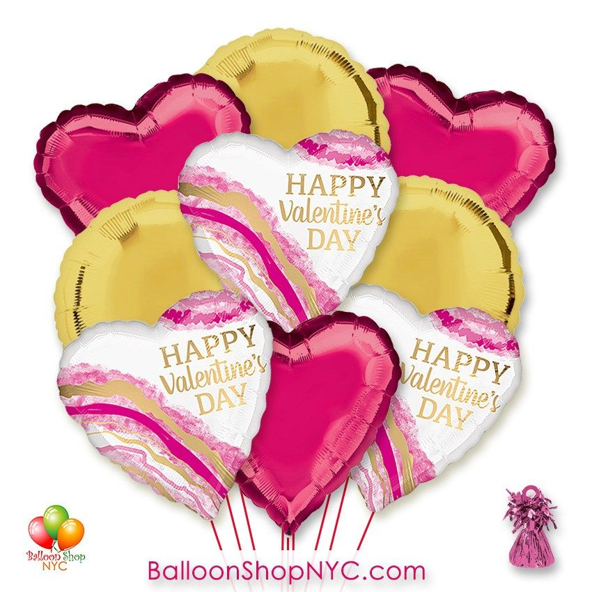 Happy Valentines Day Watercolor Hearts Balloon Bouquet With Weight