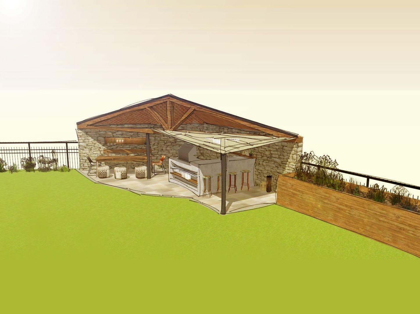 3d Planung Einer Outdoorkuche Mit Grill Bartresen Und Angrenzenden Hochbeet Konzept Bau Gebaude