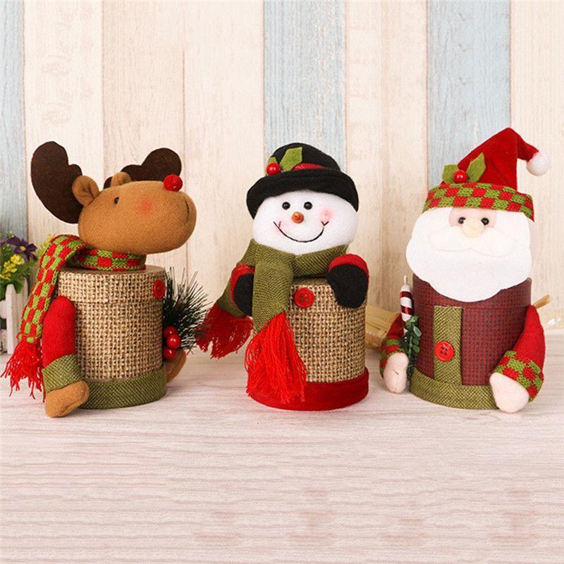 New 1Pc Xmas Santa Claus Snowman Elk Candy Box Christmas Ornaments