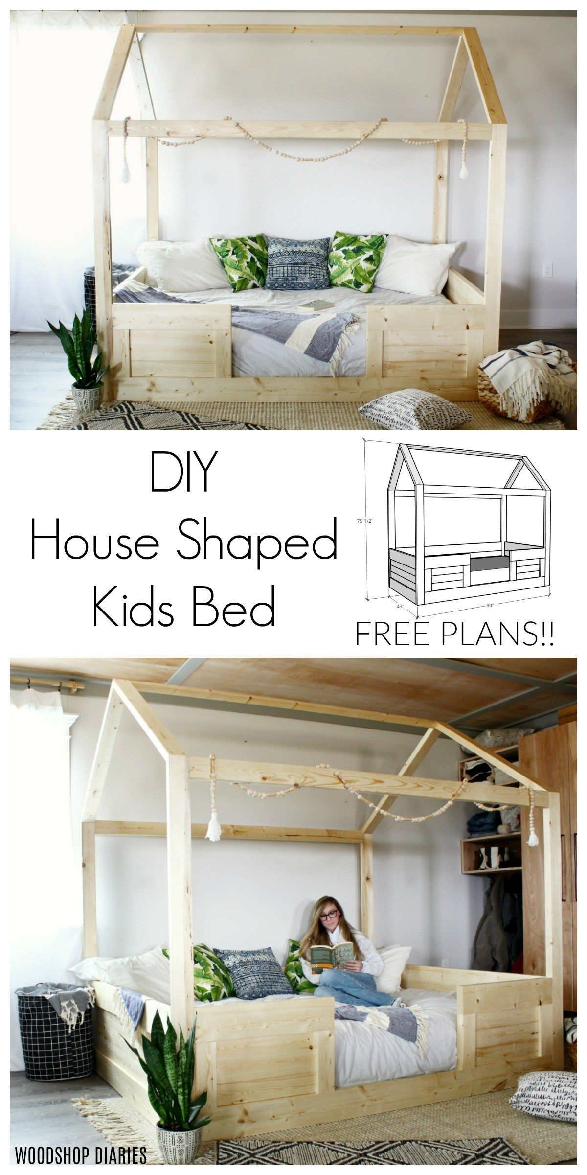Diy Kids House Bed In 2020 House Beds For Kids House Beds Kids
