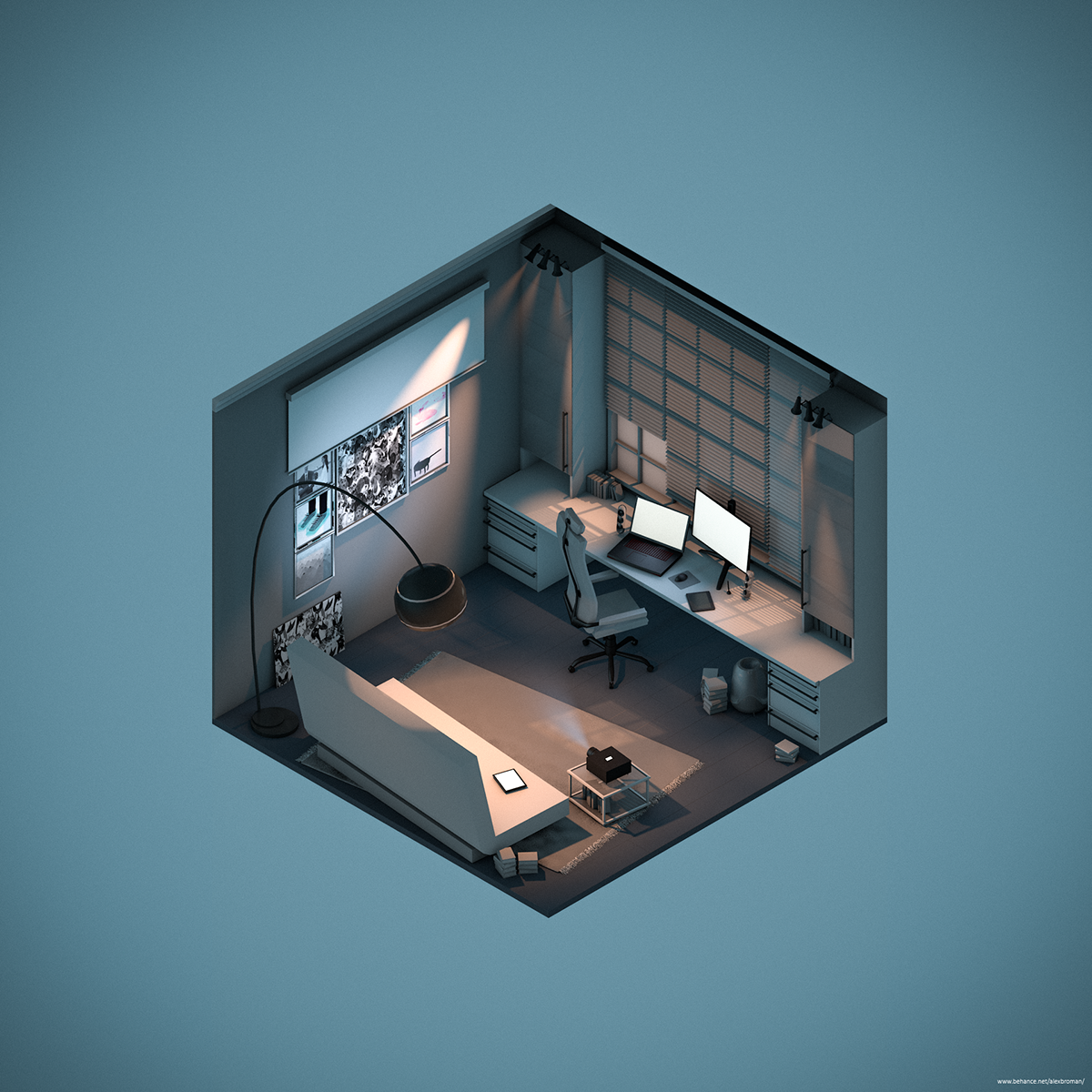 Three Rooms in Isometric View.c4d on Behance