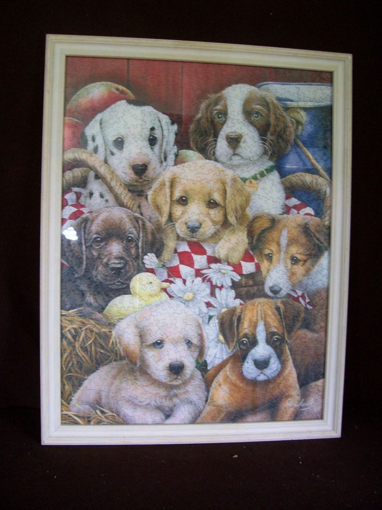 Adorable RARE Puzzle Art Print   PUPPIES  framed and signed  26 x 20