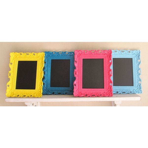 FRAMED CHALKBOARD Bright Colors Teal Pink Aqua Yellow Picture Frame... ($32) ❤ liked on Polyvore