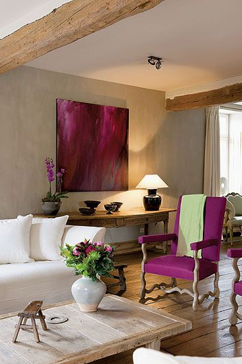Started With A Neutral Color Scheme, Then Wowed The Room With A Dose If  Unexpected Purple Art And Freshly Upholstered Antique Chairs!