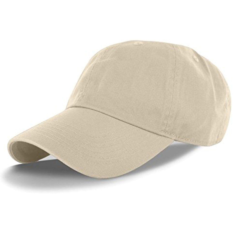 Beige-100% Cotton Adjustable Baseball Cap Hat Polo Style Washed Plain Solid  Visor (US Seller)     For more information 95359d068bc5