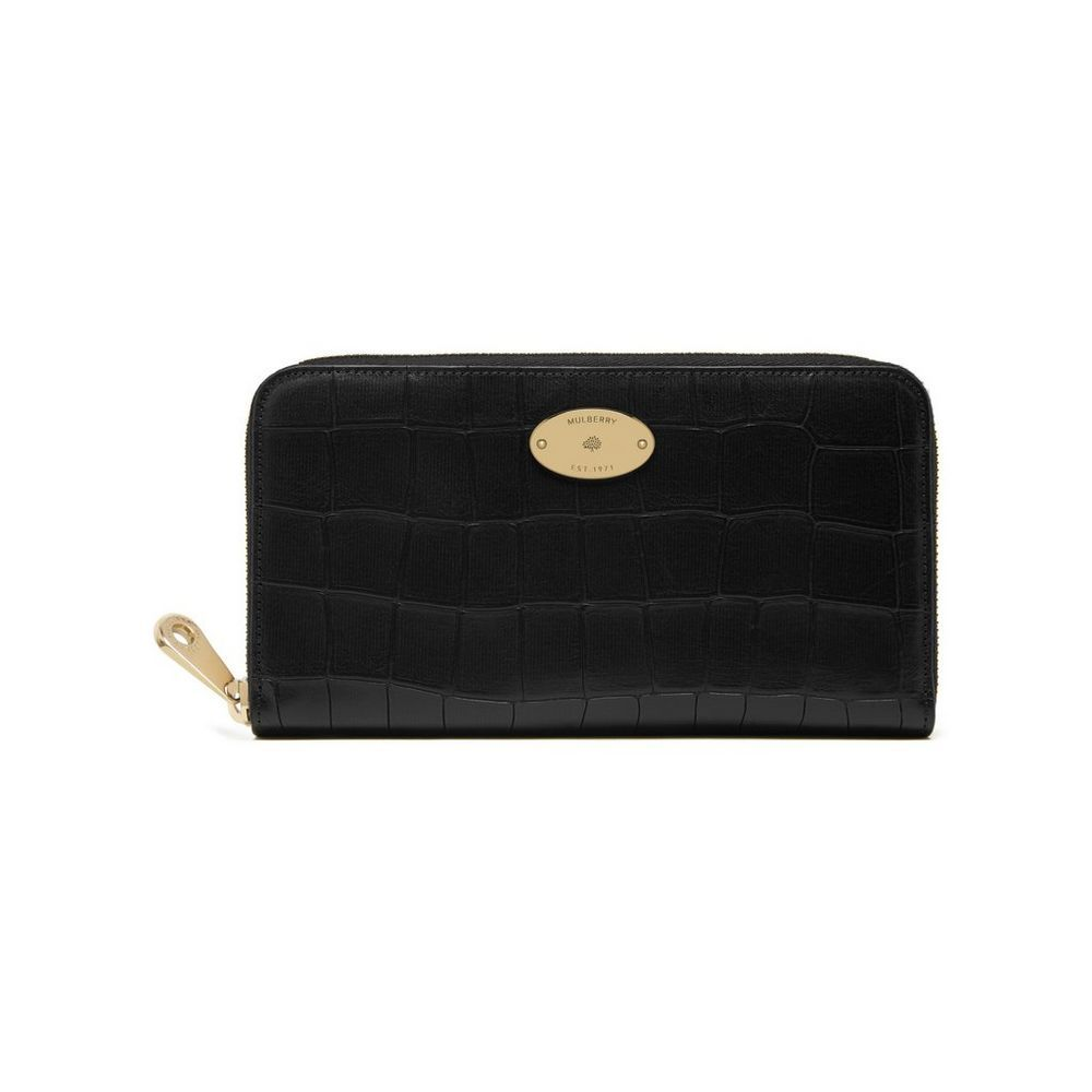 f07e611d4d New Mulberry croc-embossed leather - Zip Around Wallet in Black Deep  Embossed Croc Print
