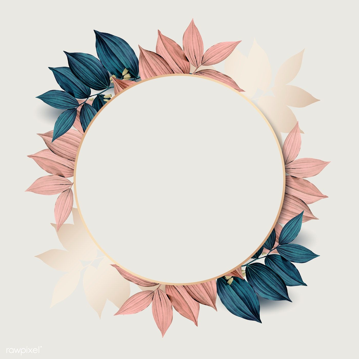 Download premium vector of Round gold frame on pink and