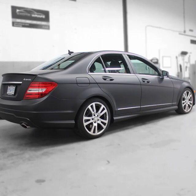 Mercedes C300 Wrapped In Matte Black At Exotik Wrapz Matte Black