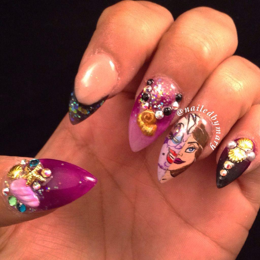 Elegant Stiletto Nail Art: Ursula Disney Little Mermaid Stiletto Nails