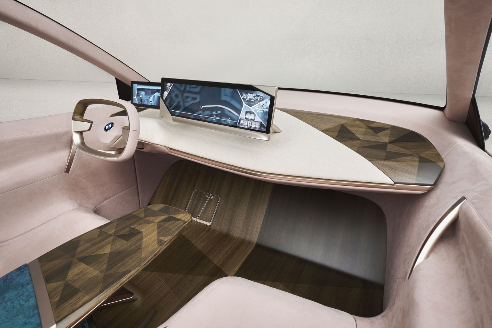The original interior of the BMW Vision iNEXT, inspired by modern luxury furniture  #BMW #ConceptCar #Futuristic #CarDesign #Design #AutonomousVehicles #CarBodyDesign #InteriorDesign #CarInterior #Interior