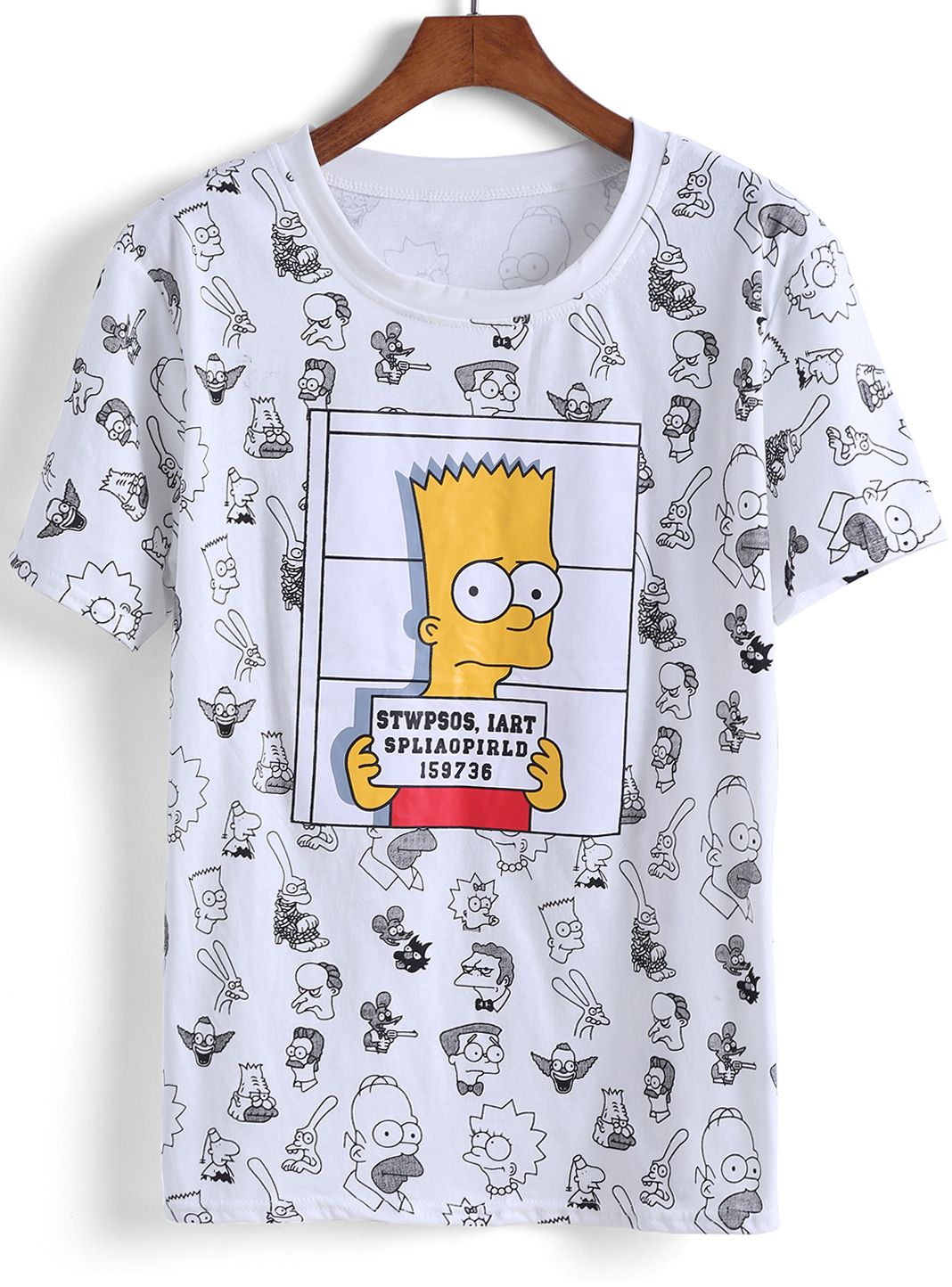 853d4b40b White Short Sleeve Simpson Print T-Shirt em 2019