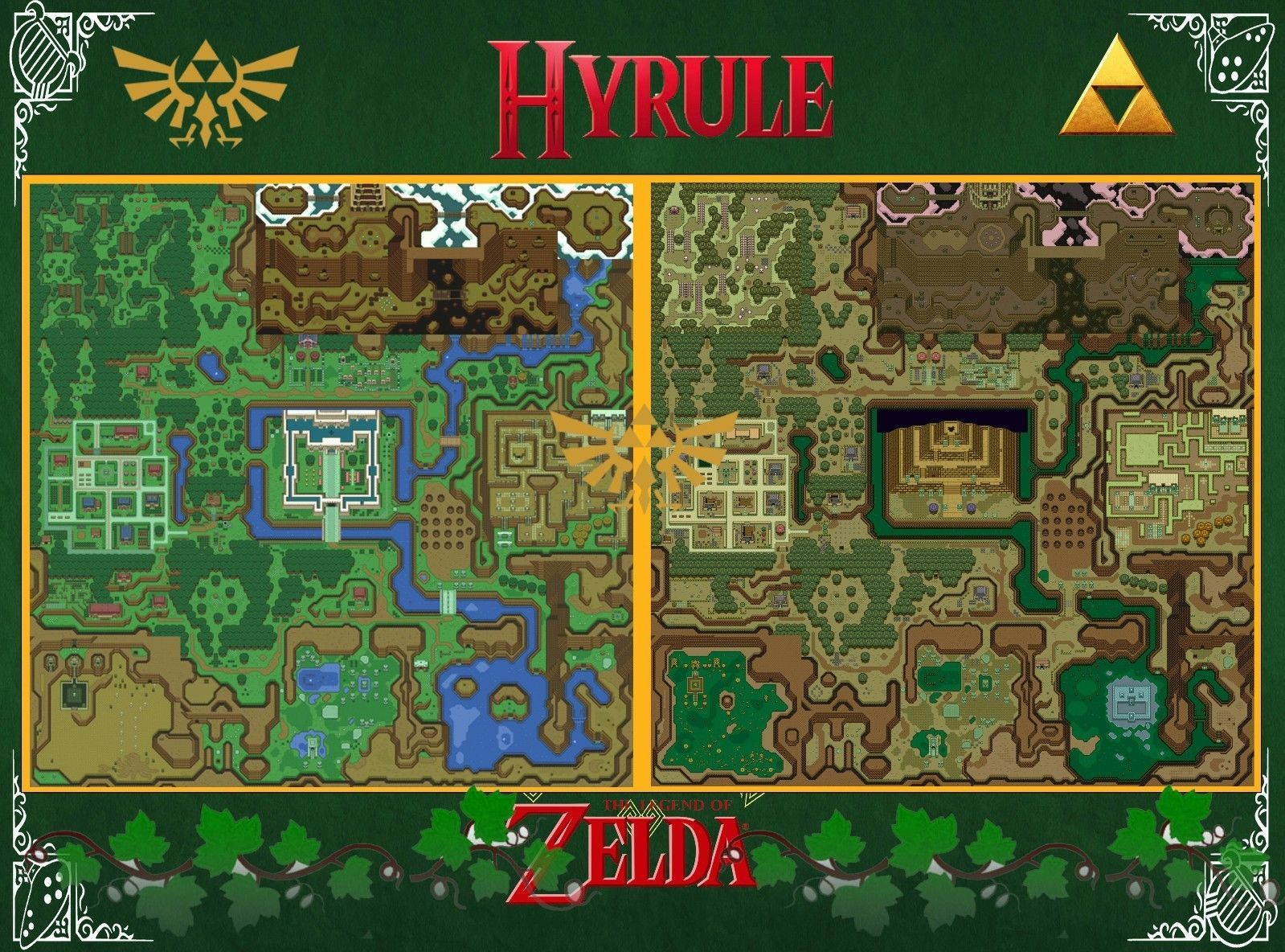 Zelda Map A Link To The Past Wall Poster 22in X 34in Zelda
