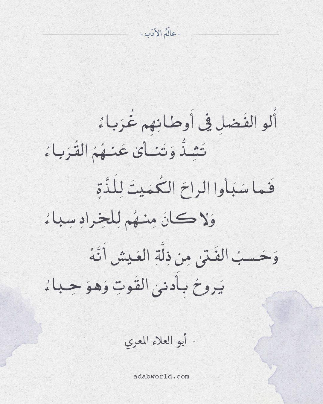 شعر أبو العلاء المعري ألو الفضل في أوطانهم غرباء عالم الأدب Math Arabic Calligraphy Math Equations