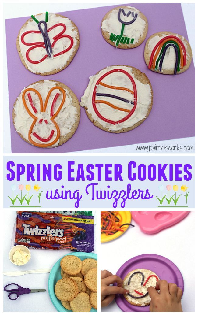 Looking for a fun Easter treat to make with your kids or a special dessert for a Children's Easter party? These Twizzler Spring Easter cookies are so easy and fun for kids to make and they will end up with their own cookie art! #springdessert #springcookies #easterdessert #eastercookies #cookieart #twizzlers #easteractivity #kidbaker