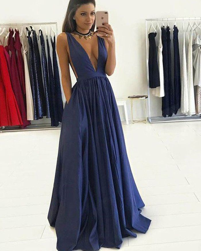 1a553356e9 Deep V-neck Navy Blue Pleated Long Prom Dress with Pockets PM1245