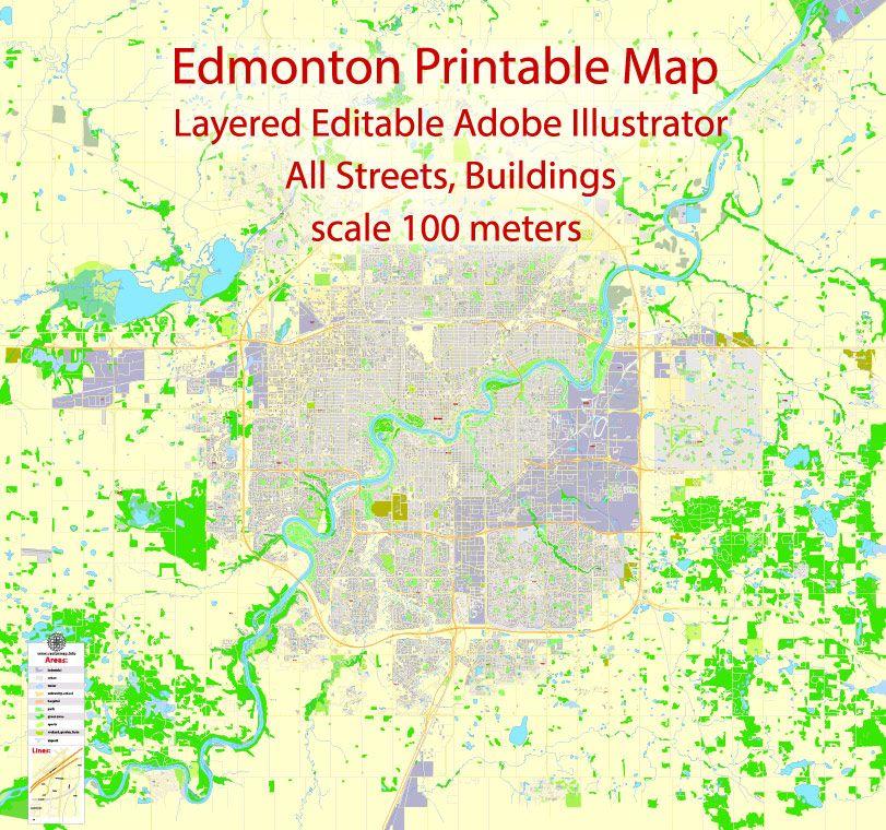 Edmonton Printable Map, Canada, exact max detailed