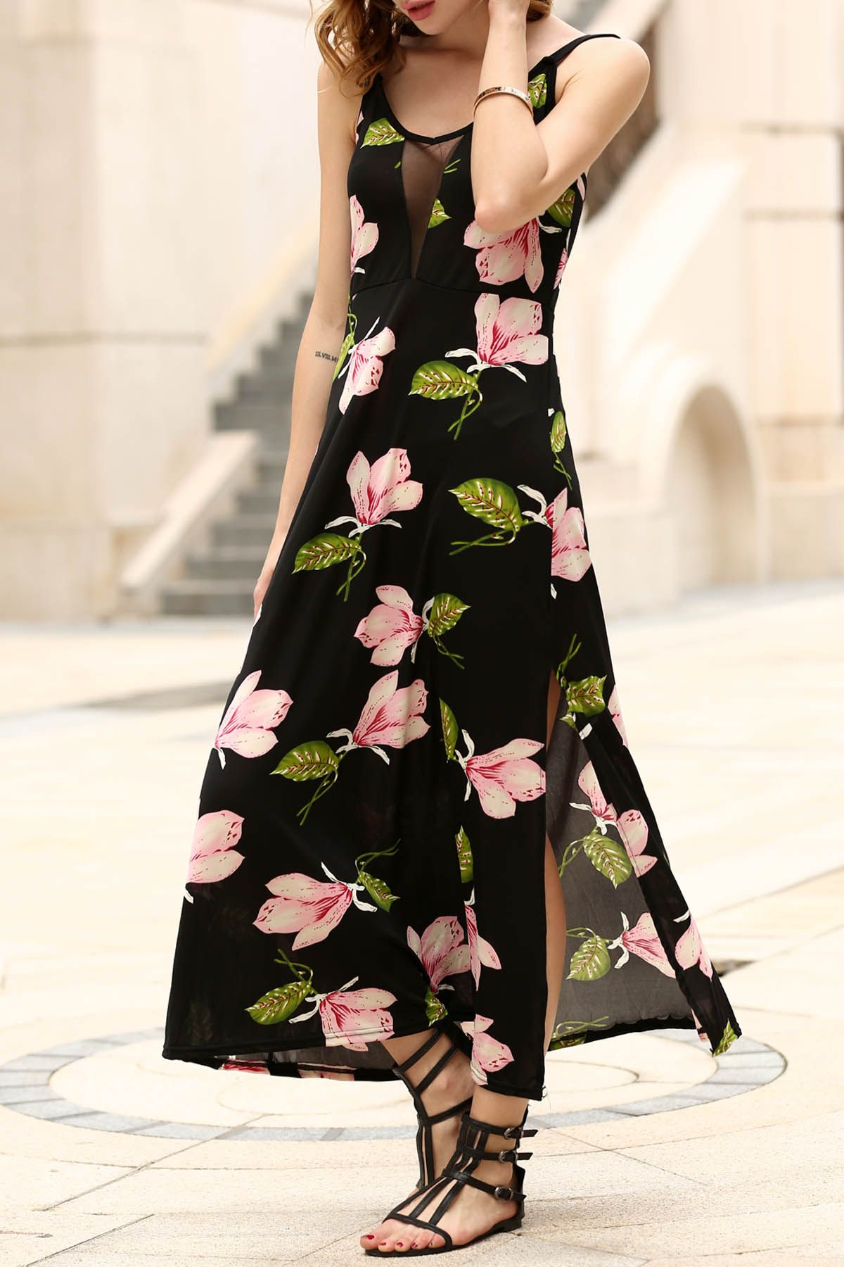 Floral print side vent prom dress clothesstyle pinterest