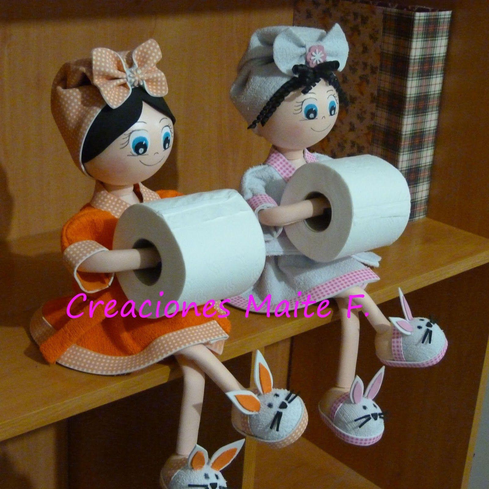 Mu ecas fofuchas porta rollo de papel higi nico para - Como decorar un rollo de papel higienico ...