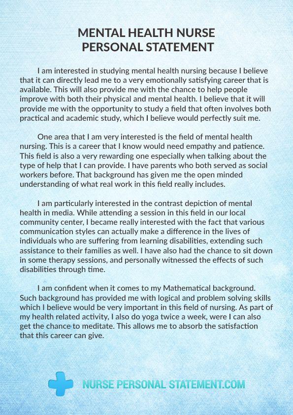 Pin on Mental Health Nurse Personal Statement