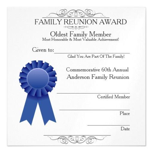 Oldest Member Elegant Family Reunion Awards Magnetic Card  Family