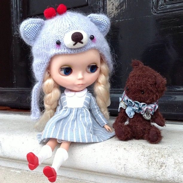 """Hello little bear!"" #kennerblythe  #blythe #teddybear #handmade #doorstep #kawaii # friends"