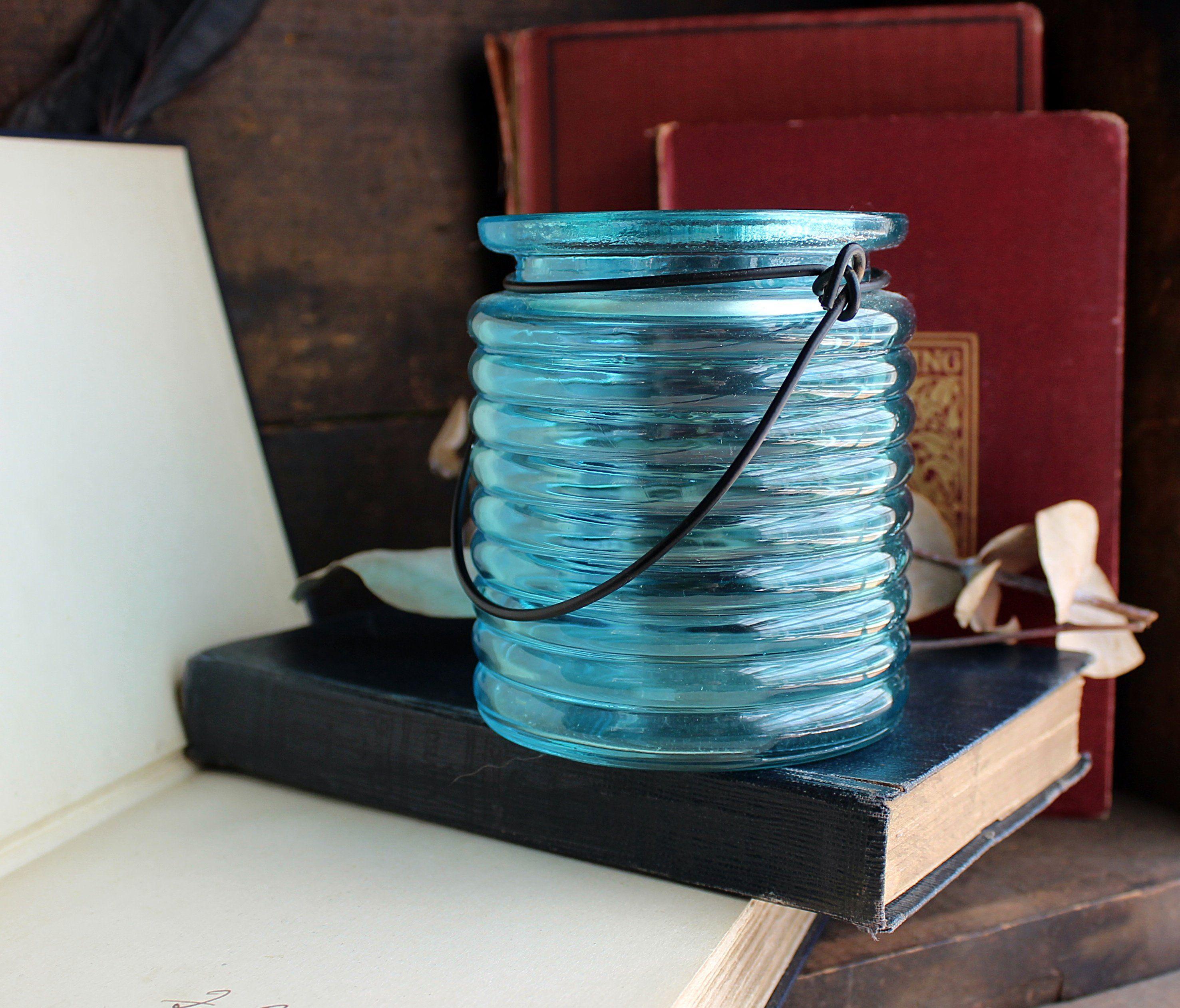 Blue Ribbed Hanging Tealight Holder