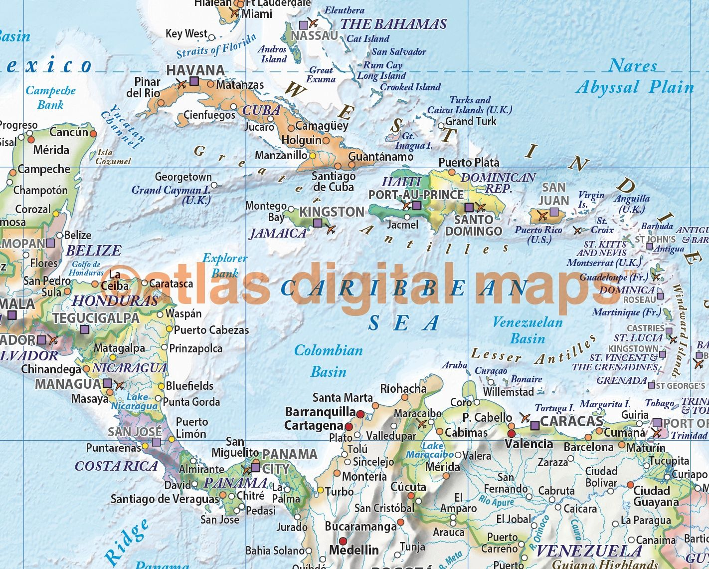 Political and relief map of central america and the caribbean in political and relief map of central america and the caribbean in light pastel colours publicscrutiny Choice Image