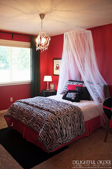 Pin By Amber Rice On For The Home White Girls Rooms Red Rooms Bedroom Red