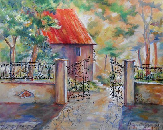 Tableau paysage Maison à la Grille en fer forgée peinture