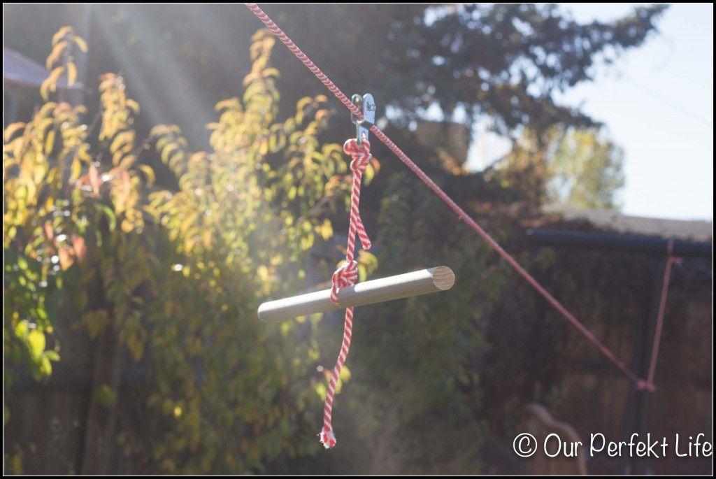 DIY Zipline for your backyard - Backyard Zip Line - Pulley, Dowel + We Will Add A Locking Carabiner
