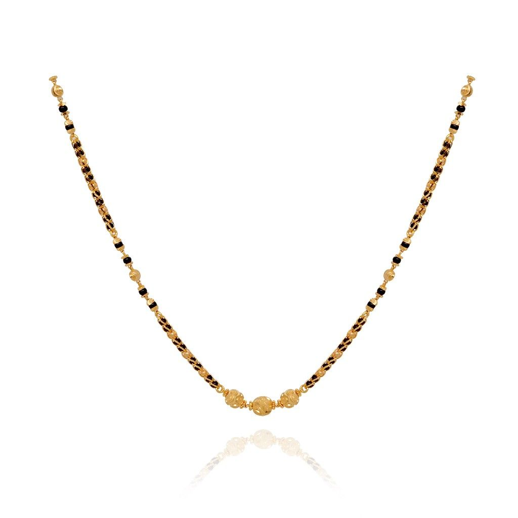 Chains | Three Ball Row Black Bead Gold Chain | GRT Jewellers ...