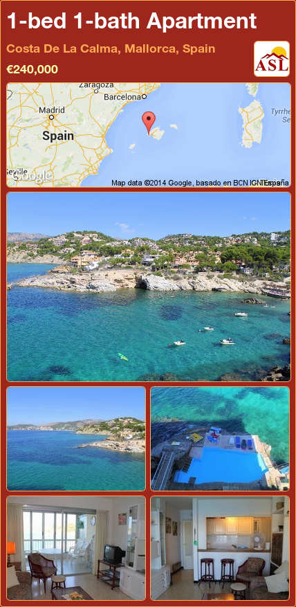 1-bed 1-bath Apartment in Costa De La Calma, Mallorca, Spain ►€240,000 #PropertyForSaleInSpain
