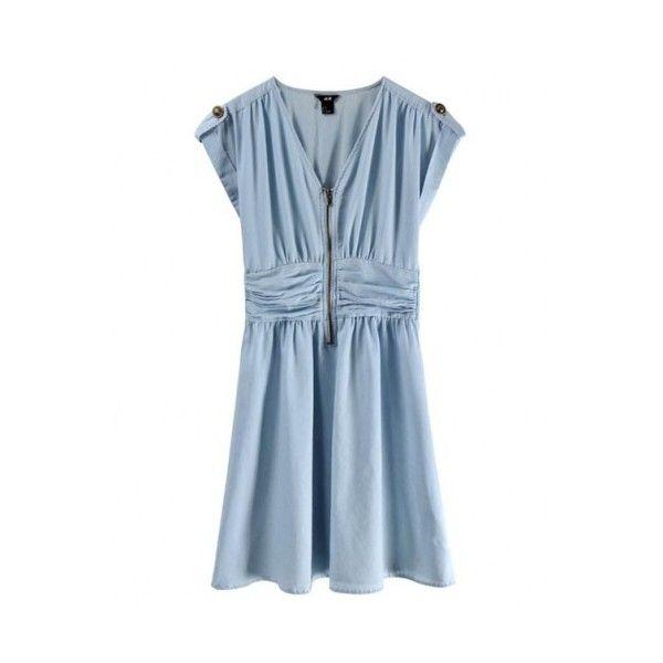 Cotton Blue Short Sleeve V-neck Up-zip Dress style 823dr0019 ($32) via Polyvore