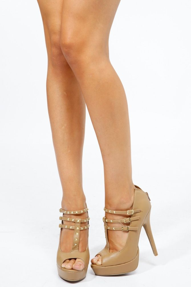 9e98034bcac Anne Michelle Gold Accent Studded T-Strap Peep Toe Heels   Cicihot Heel  Shoes online