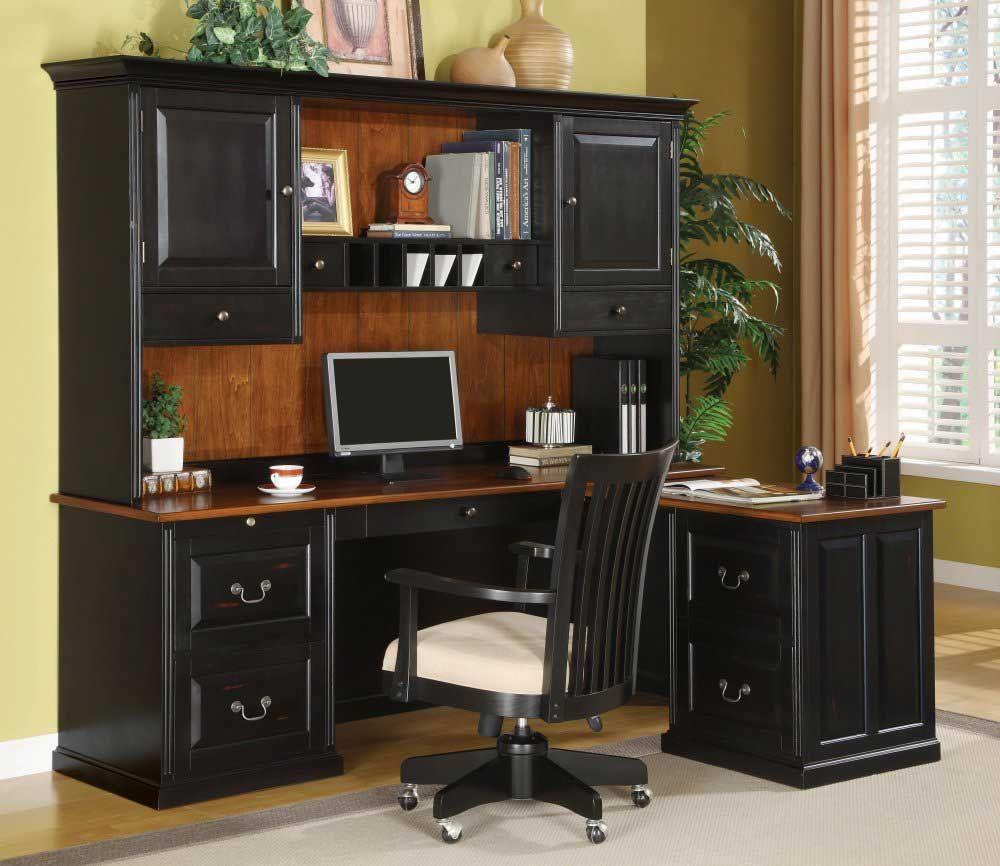 Modern Home Office Furniture Set Design With Dark Wood Desk And I