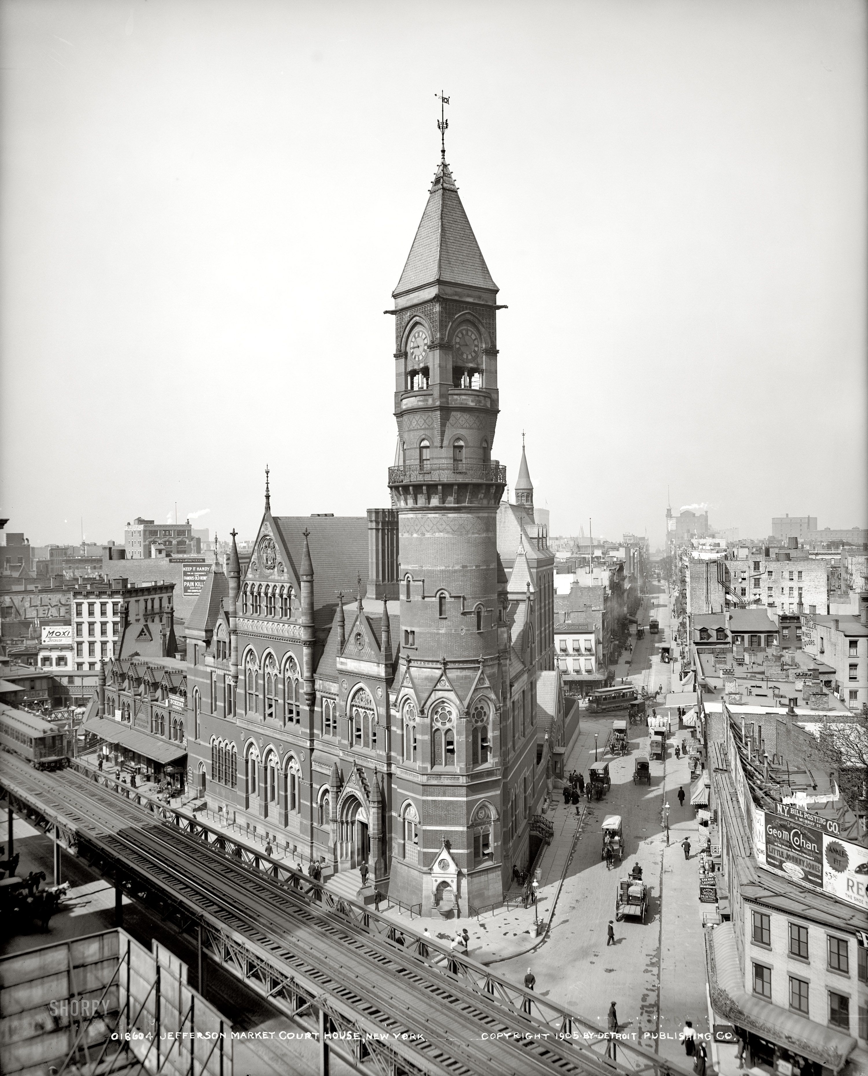 NYC 1905 Jefferson Market, Courthouse, also had been a fire tower.  Looking West 10th Street @ 6th Avenue, Greenwich Village-now a Museum