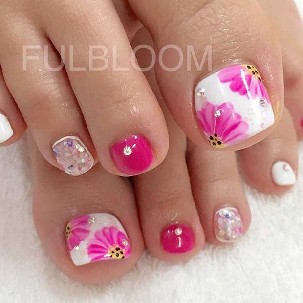 Pink Flower Toe Nail Art Design for Spring - 25 Eye-Catching Pedicure Ideas For Spring Flower Toe Nails, Toe