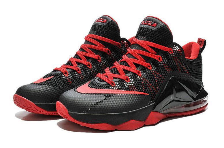 d80d8b0ad02b0 LeBron 12 Low Black Sport Red Crimson