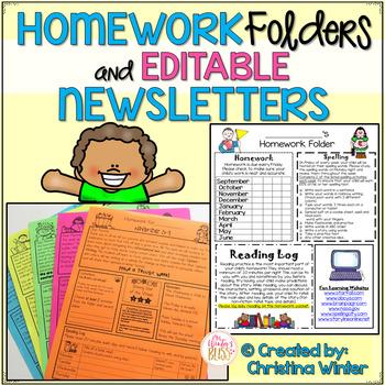 Homework Folder and Newsletter Template *EDITABLE Newsletter
