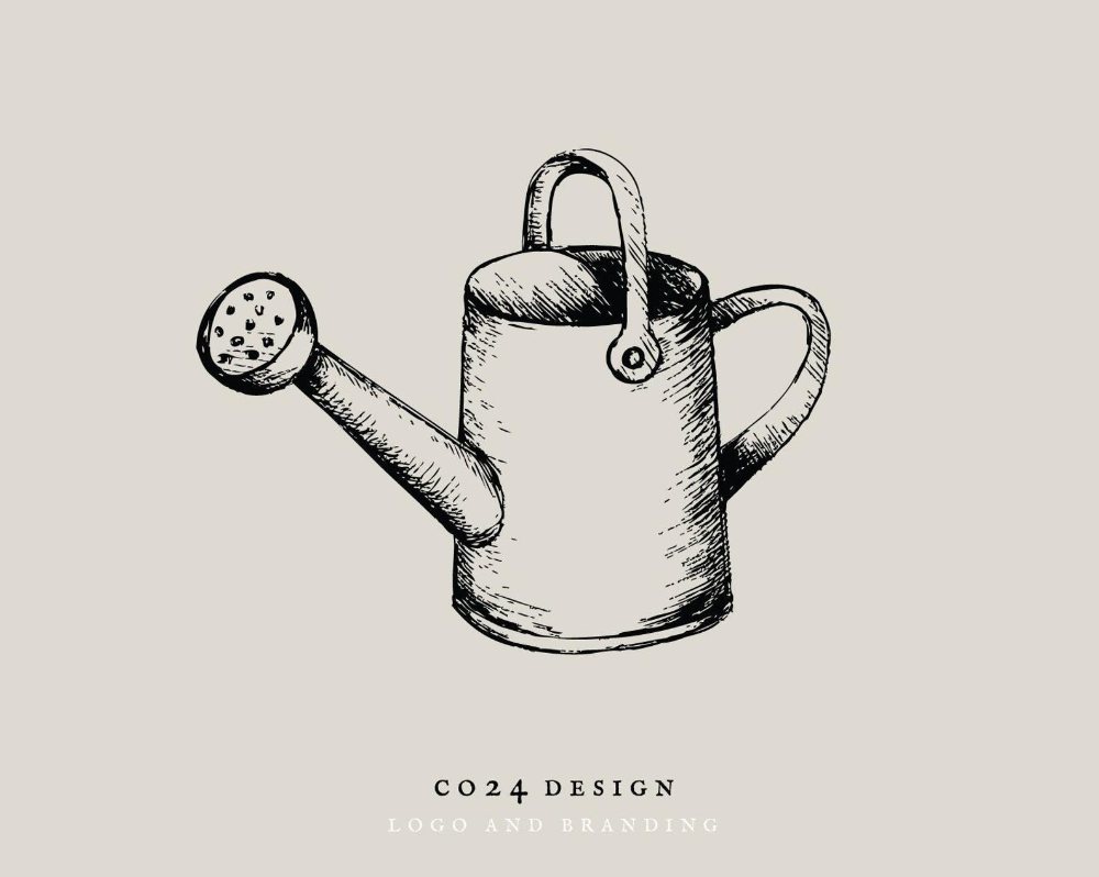 Watering Can Vintage Style Hand Drawn Illustration Icon Eps Etsy In 2021 How To Draw Hands Watering Can Drawing Illustration