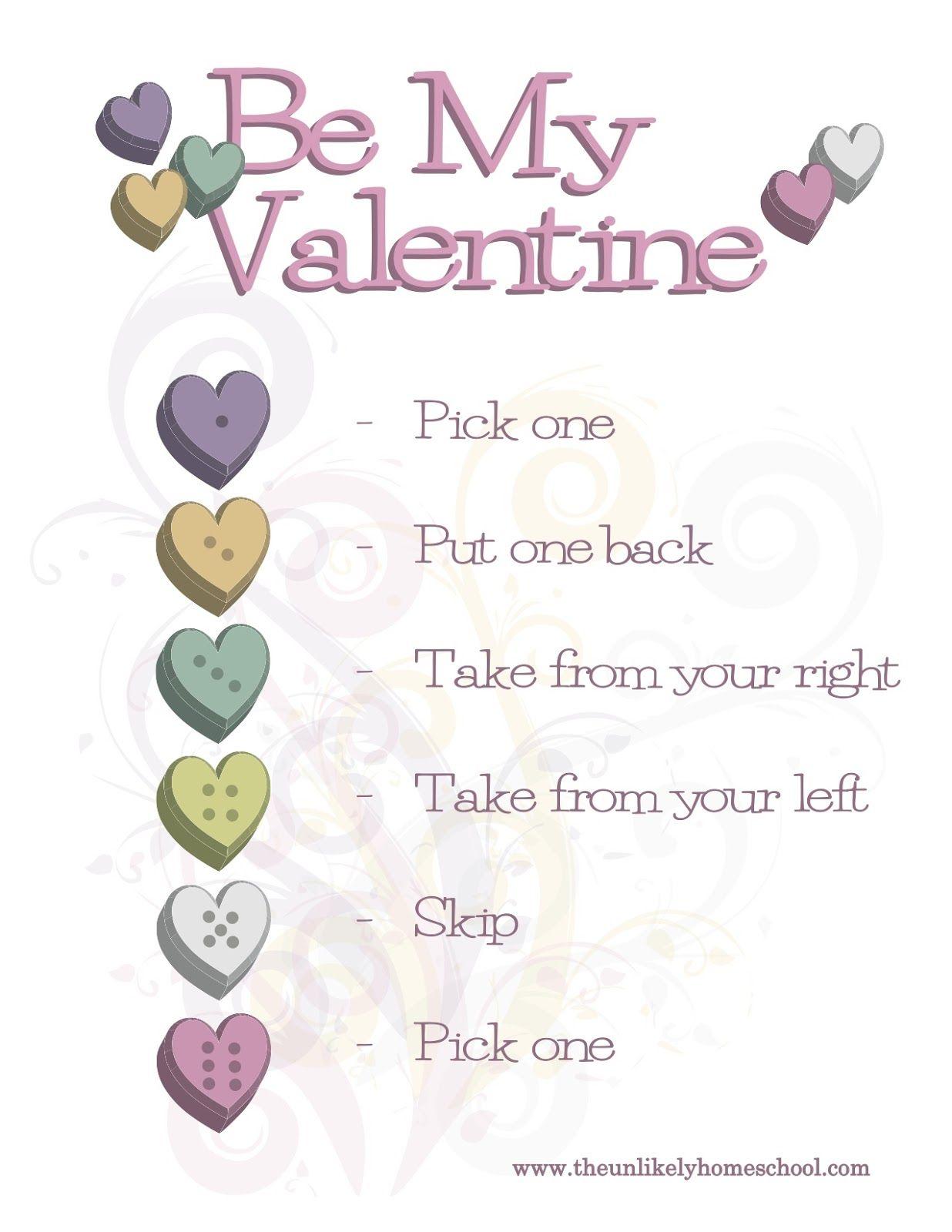 Be My Valentine Game Printable Valentines School Valentines Games Kindergarten Valentine Party