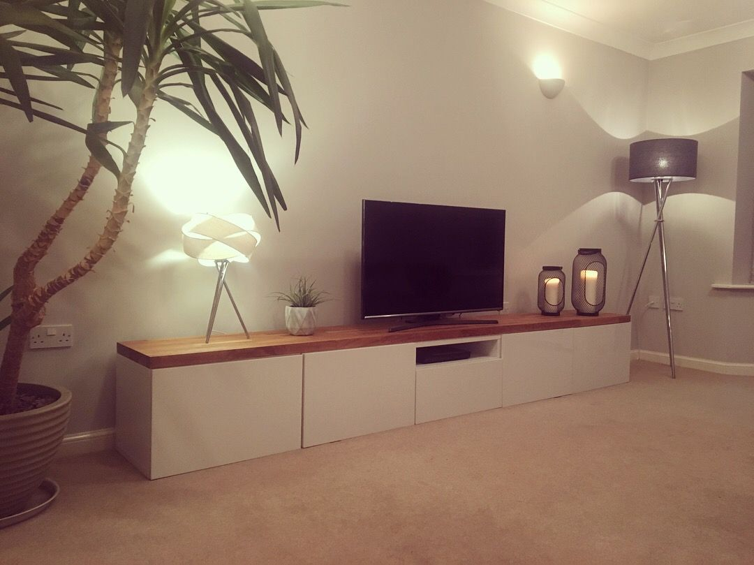 Muebles Nuñez Ikea Besta Tv Hack Solid Oak Top And High Gloss Doors