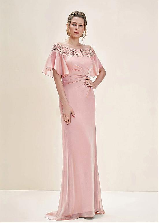 Beautiful Lace & Silk-like Chiffon Off-the-shoulder Neckline Sheath ...