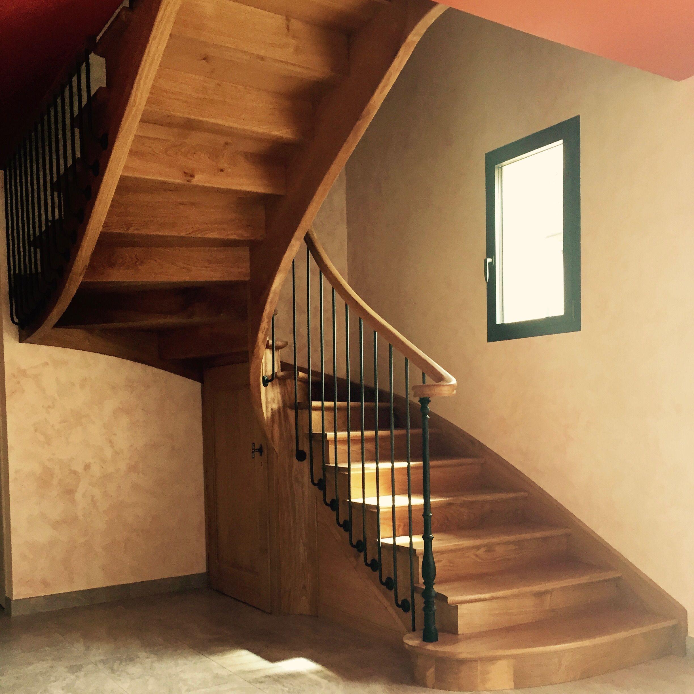 escalier l 39 anglaise en ch ne 2 4 tournant d part en. Black Bedroom Furniture Sets. Home Design Ideas