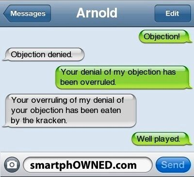 Text objection denied over rules eaten by the kraken well played - has no objection