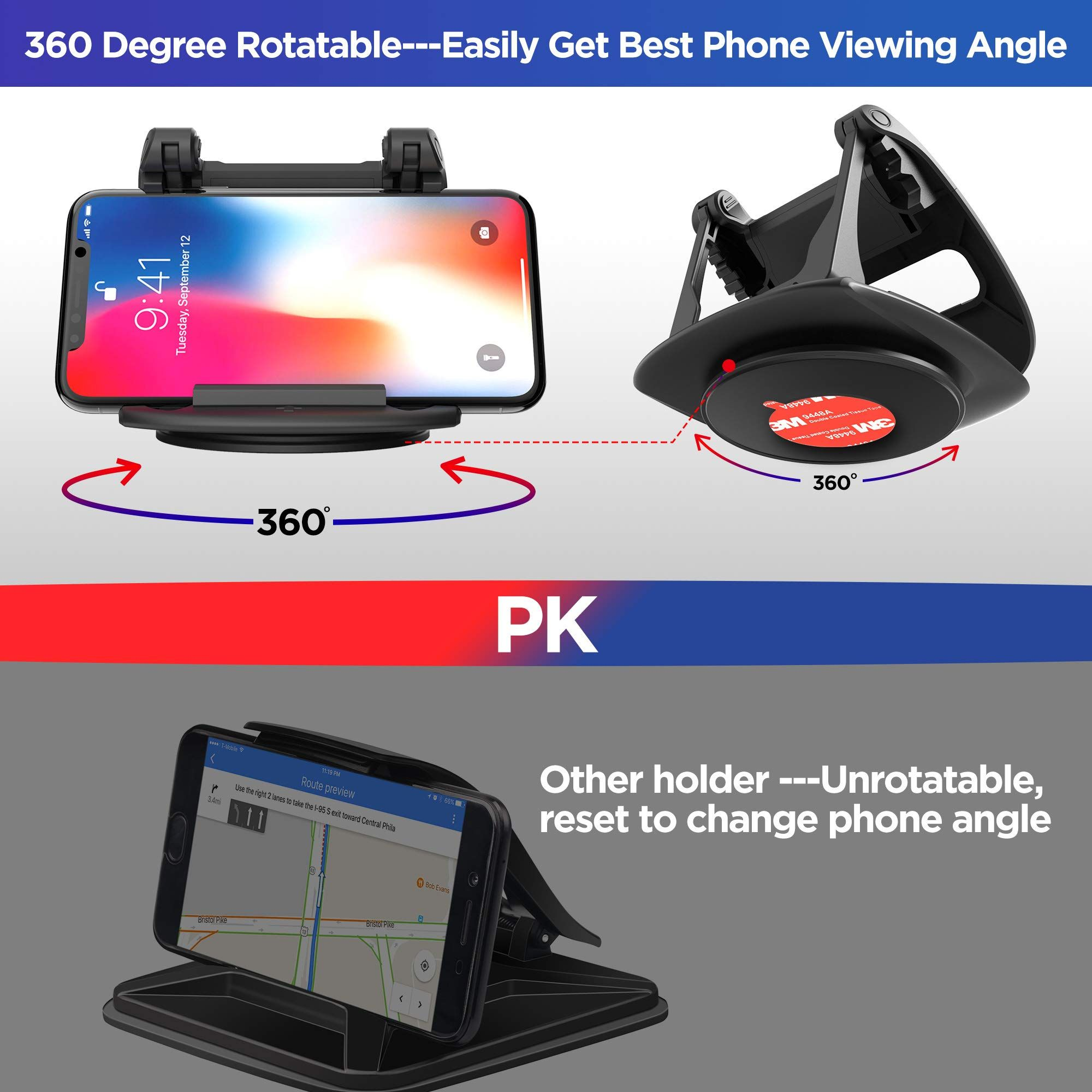 Cell Phone Holder for Car Dashboard,Universal 360 Degree Rotatable Car Dashboard Phone Mount Hold Phones Vertically//Horizontally Compatible with GPS,iPhone 7 6 6s X XS 8 Plus Samsung S9 S8 S7 S6
